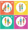 family couples posters set vector image vector image