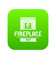 fireplace icon green vector image vector image