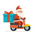 gift box santa claus delivery courier scooter vector image vector image