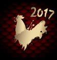 golden chinese new year rooster for 2017 vector image