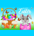 happy easter poster bunny sitting in egg vector image