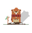 happy groundhog day with groundhog vector image vector image