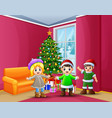 happy kids celebration a christmas in the home vector image vector image
