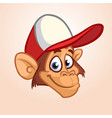 happy monkey head cartoon vector image
