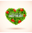 Heart shape label made of leafs Romantic label vector image vector image