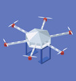 isometric quadrotor helicopter delivery food vector image
