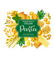 italian pasta poster with macaroni food and herb vector image vector image
