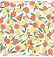 lemon and orange fruits with leaves on white vector image vector image
