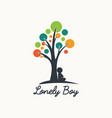 lonely boy tree logo abstract vector image vector image