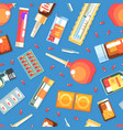 medicines and medical supplies seamless pattern vector image vector image