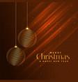 merry christmas golden balls on shiny brown vector image vector image
