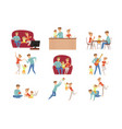 mom dad and their little son spending time vector image vector image