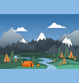 mountain camp in paper art vector image