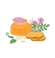opened glass jar of organic honey pair of bread vector image vector image