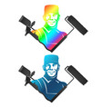 painter with roller and spray gun vector image vector image