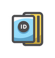 passport with tickets icon cartoon vector image