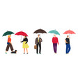 people characters with umbrella vector image vector image