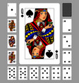 playing cards of spades suit and back on green vector image