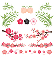Plum Blossom and Bamboo Ornament vector image vector image