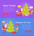 poster of santa presents and xmas tree decor vector image vector image