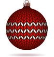 Red Knitted Christmas Ball vector image