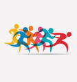 running people set symbols competition and vector image