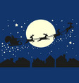 Santa claus in sleigh silhouette on blue sky