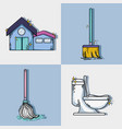 set clean house equipment and domestic service vector image