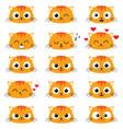 set cute cartoon cat emotions vector image vector image