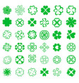 set of fortune four leaf clovers vector image