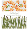 shrimps and asparagus healthy poster pattern vector image