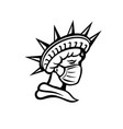 statue of liberty wearing mask black and white vector image