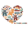 symbols of the netherlands in the shape of a vector image vector image