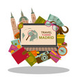 travel planning to madrid flat concept vector image vector image