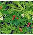 tropical flowers and leaves pattern vector image
