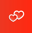 Two red heart Happy Valentines Day vector image