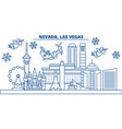 usa nevada las vegas winter city skyline merry vector image vector image