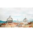 watercolor panorama rome vector image