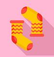 winter socks icon flat style vector image vector image