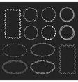 set of hand drawn frames in a black backround vector image