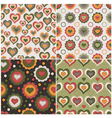 set seamless patterns with hearts vector image