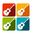 acoustic guitar square icon design set vector image