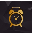 Alarm clock sign Golden style on background with vector image vector image