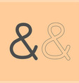 ampersand dark grey set icon vector image