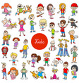 cartoon children characters large collection vector image vector image