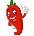 cartoon chili pepper giving thumbs up vector image vector image