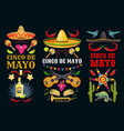 cinco de mayo icons and lettering set vector image