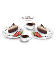 coffee cups and cake slices realistic vector image vector image