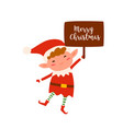 cute christmas elf holding sign with merry vector image vector image