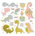 dino characters hand drawn cartoon vector image